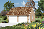 Traditional style two-car garage with reverse gable roof