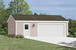 Two and half car garage has a door for easy access and plenty of extra storage space