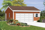 Two-car garage has extra space for storage and functional door and window