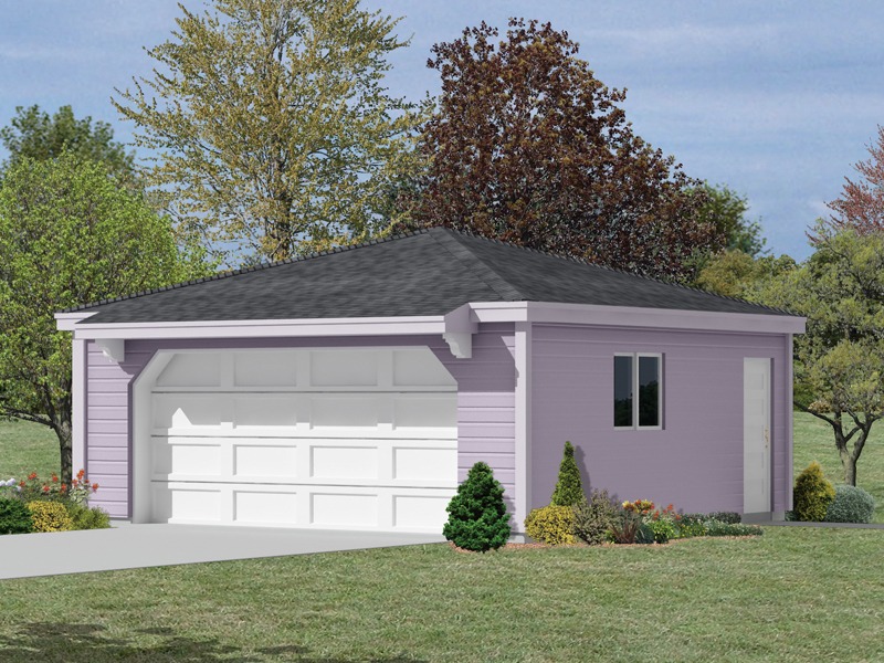 Two-car garage has hip roof design and slight roof overhang