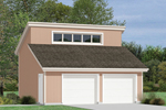 This two-car garage has several transom style windows designed into the roof perfect for a loft space above