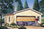 Two-car garage style has multiple windows and a door plus it can hold storage