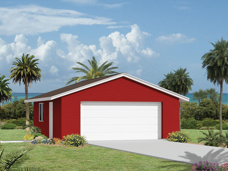 Two-car garage features a western style roof design for added character