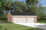 Traditionally designed three-car garage fits perfect with any home design
