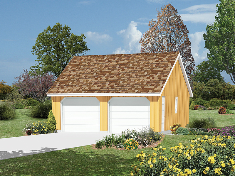 This two-car garage also features a western style reverse gable roof