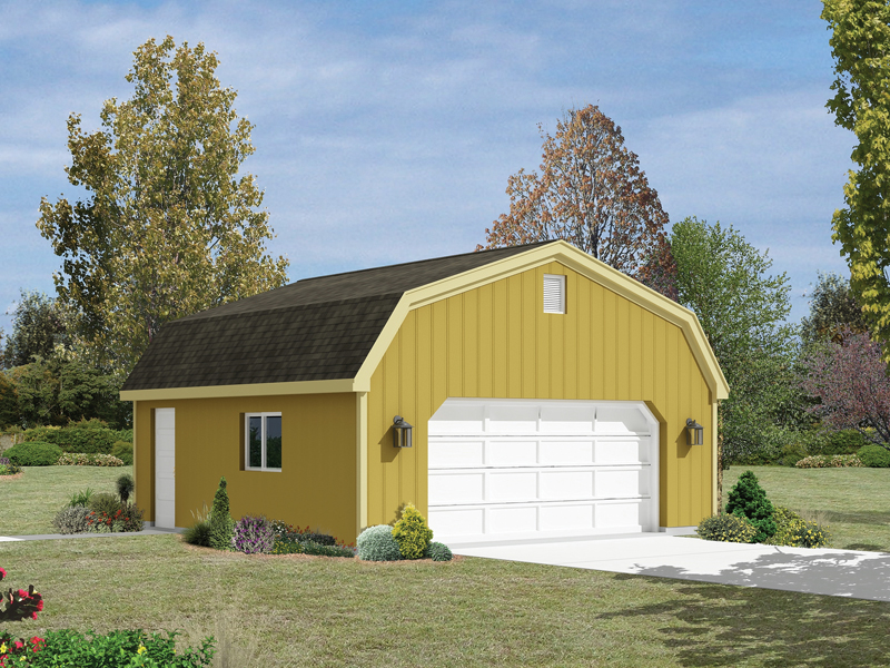 This two-car garage has a distinct country style thanks to thegambrel roof design