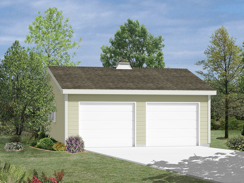 Two-car garage has a reverse gable roof with a cupola on top for added character and style