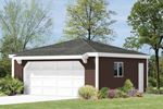 Interesting two-car garage has hip roof design