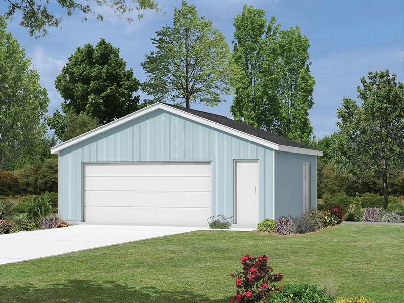 This two-car garage has extra storage on one side perfect for yard equipment