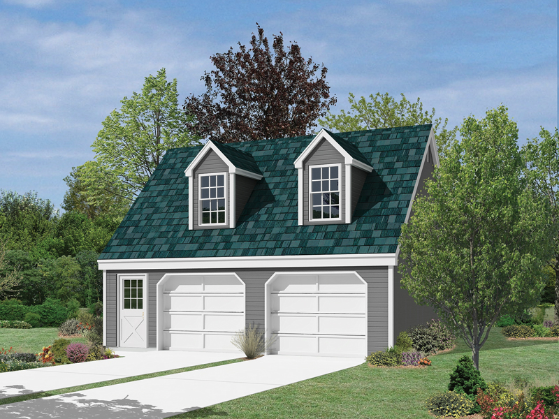 Classic Cape Cod style garage is topped with two large dormers