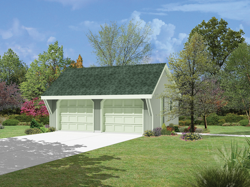 A roof overhang adds shelter to the front of this two-car garage