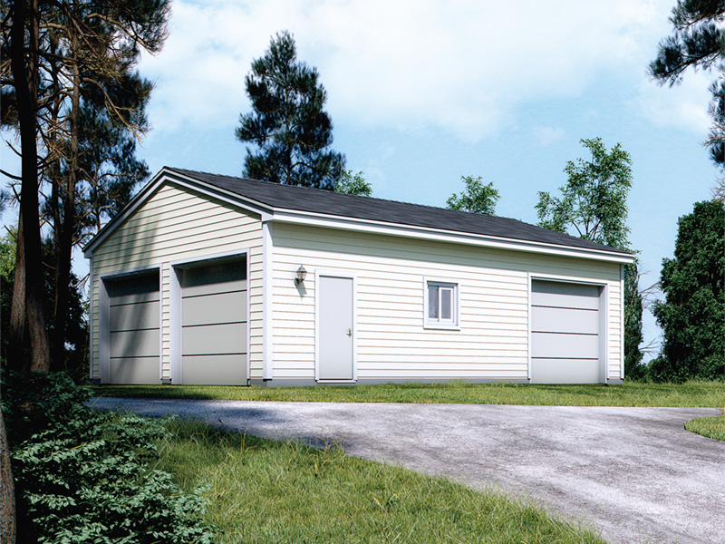 Three-car garage has one of the garage doors on the side along with a window and door