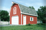 One-car garage has barn-like design thanks to the gambrel roof and loft space above