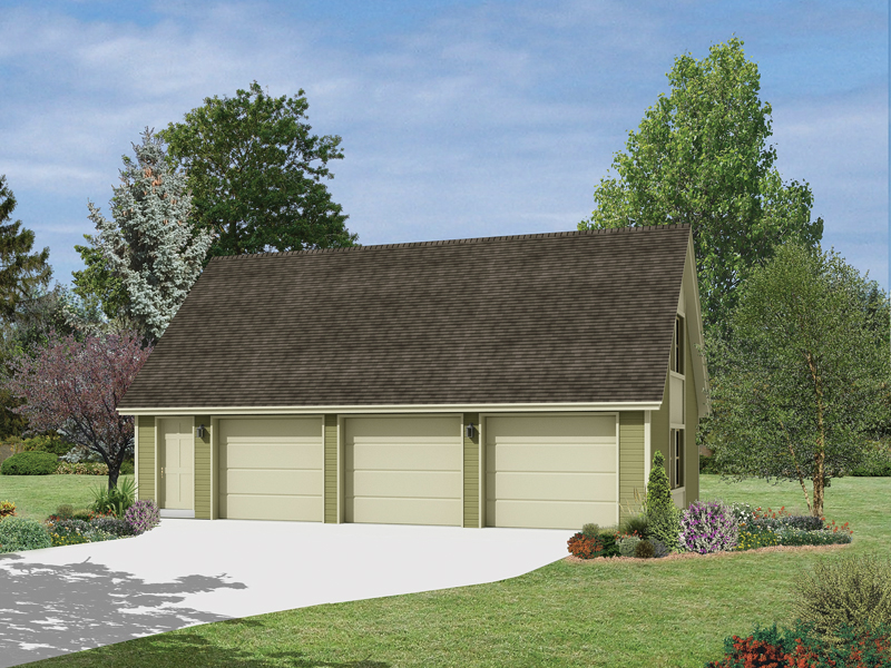 This three-car garage has a simplistic style design that would work particularly well with a modern home plan