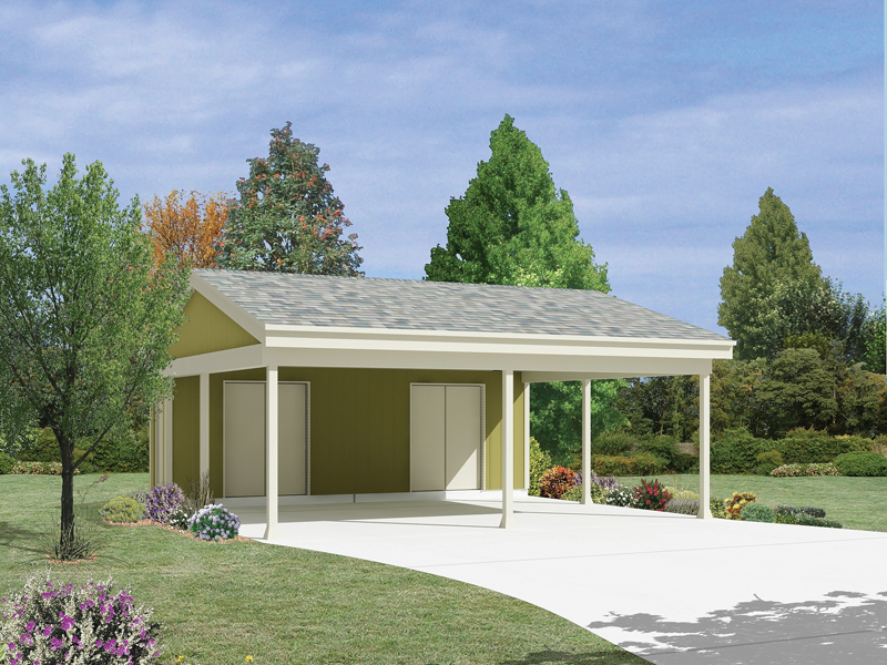 Giordana carport with storage plan 002d 6045 house plans for Garage plans with carport
