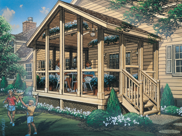 Autumn breeze screened porch plan 002d 7502 house plans for Screen room plans