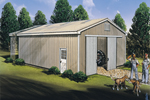 Simply designed pole building has large front sliding doors and a convenient side door