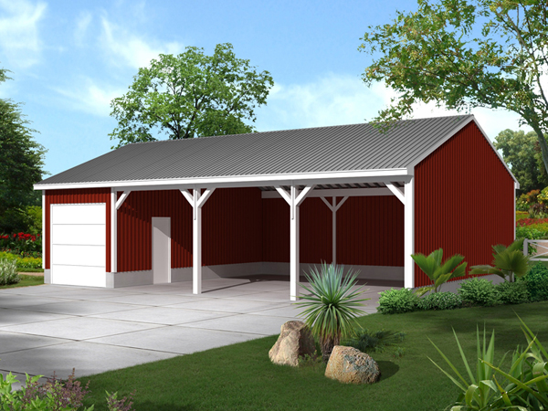 Mcdonald pole building shed plan 002d 7505 house plans for Pole barn equipment shed