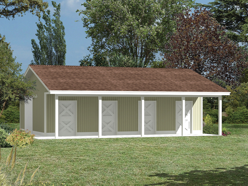 Pole building horse barn with a roof overhang