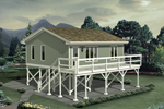 Raised three-car carport has apartment above, great design for beach, coastal or lowcountry regions