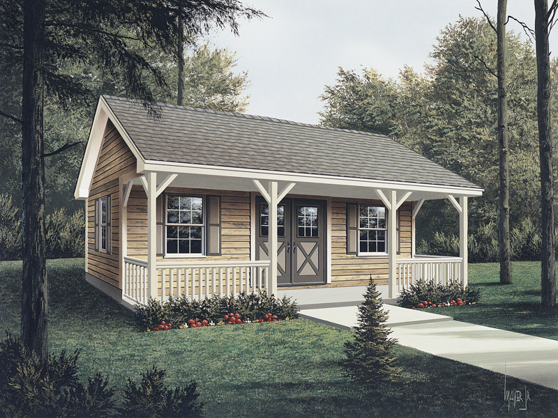 Workroom with covered porch has rustic style double doors on front