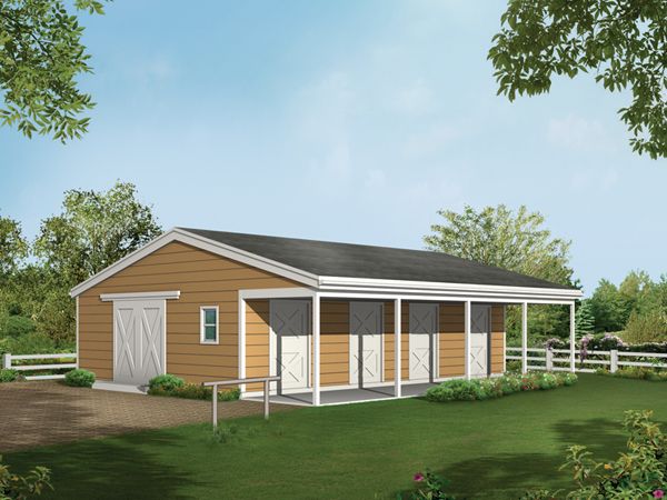 Barnhart horse barn plan 002d 7522 house plans and more for 4 stall barn plans