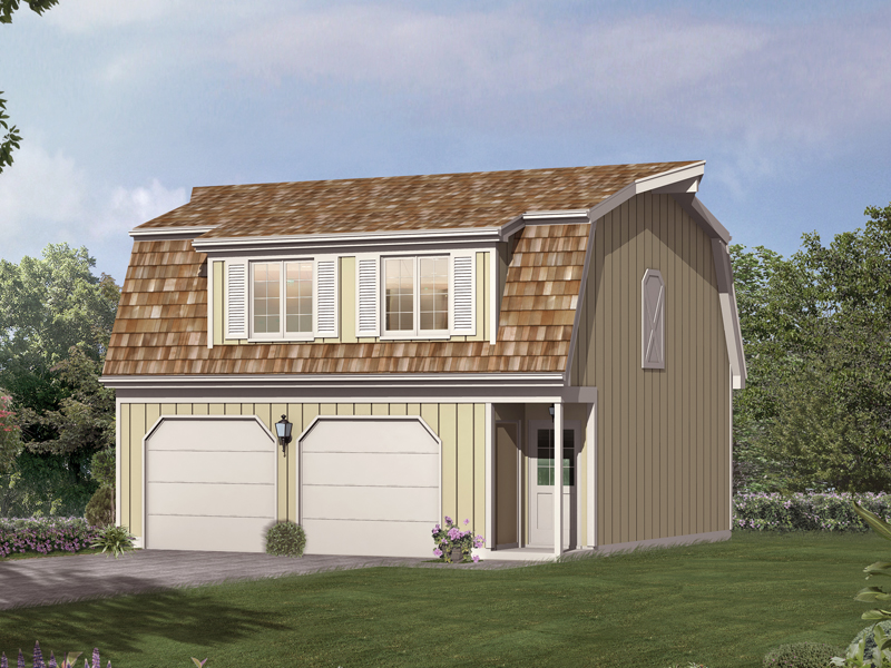 This two-car apartment garage has a cedar shingled roof adding a Bungalow feel to the design