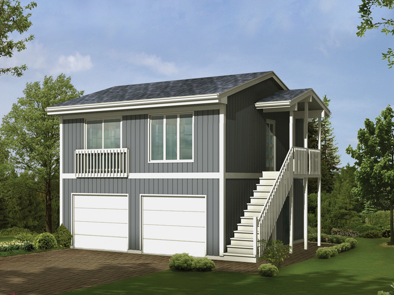 Parker studio apartment garage plan 002d 7525 house for Double story garage