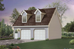 Cape Cod style two-story apartment garage with twin roof dormers