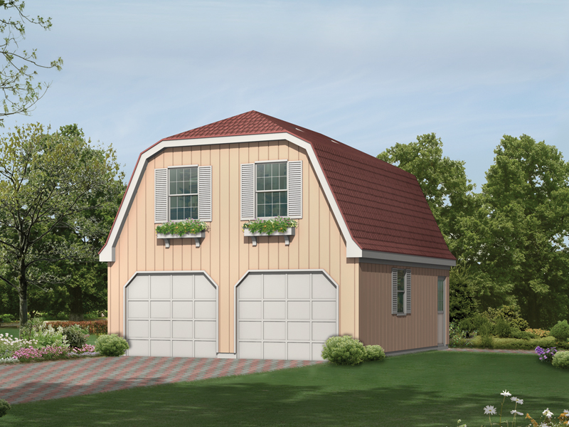 Two-car garage apartment has gambrel style roof and windows with charming planter boxes