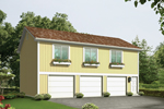 Three-car garage apartment has a simple design with three windows above garage doors all with planter boxes