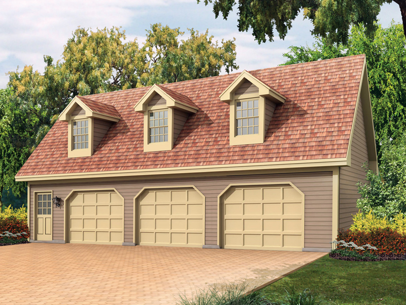 Cape Cod style three-car garage apartment with triple dormers on the roof