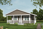 Cabin with wrap-around porch offers lots of outdoor living space and low-maintenance siding exterior