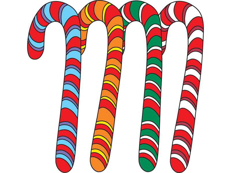 Traditional Plan Front of Home Colorful Candy Canes