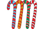 Four colorful candy canes in this yard art pattern