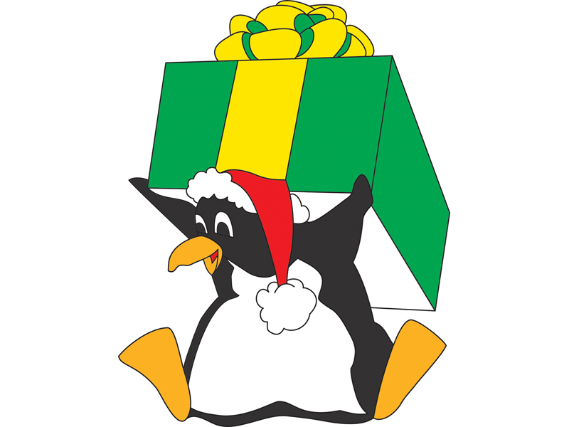 Festive pattern with penguin hlding gift box on head