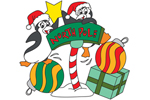 North pole penguin scene with ornaments and gifts