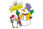 Cute North Pole greeting with penguin and snowman