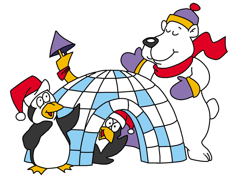 Wintery igloo scene with polar bear and two penguins