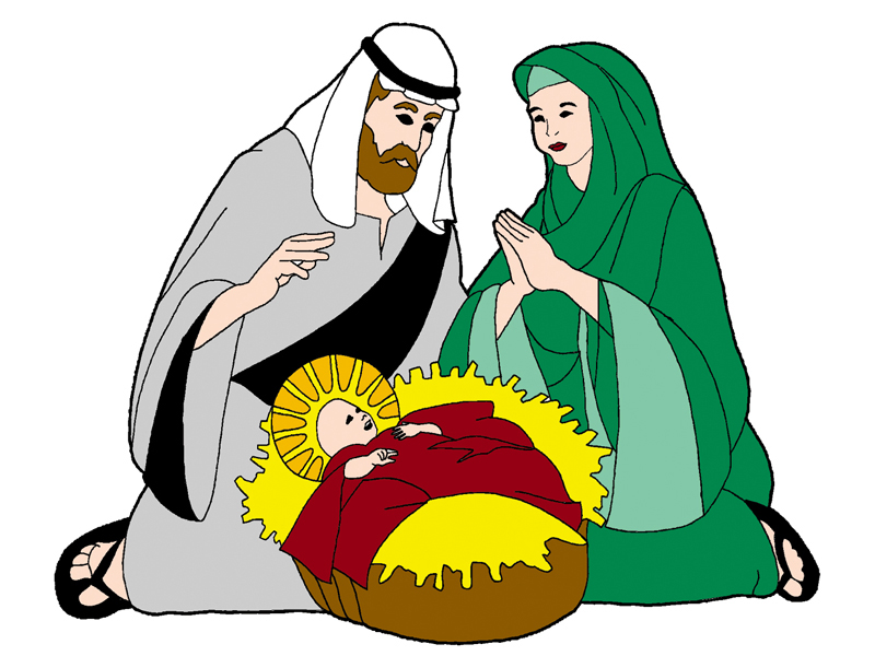 European Plan Front of Home Mary, Joseph & Jesus