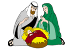 Mary, Joseph and Jesus pattern ideal for nativity scene