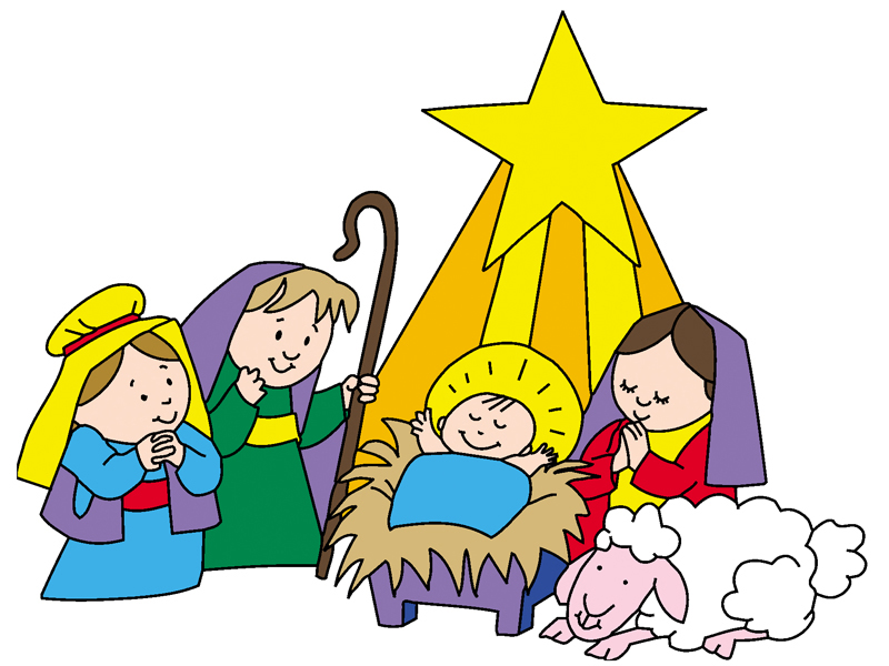 Cute nativity scene with star above