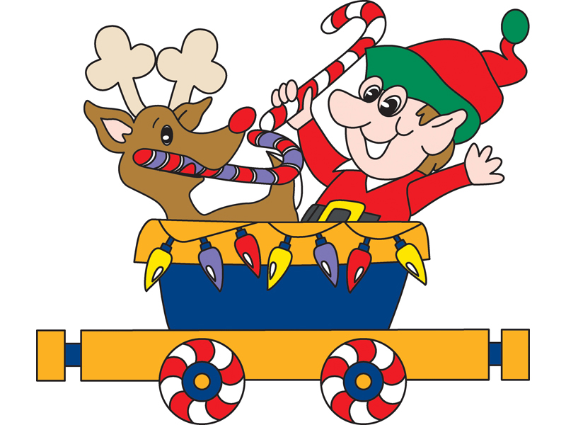 Candy cane train pattern features an elf and reindeer it he train car