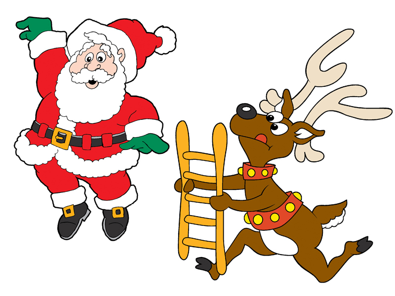 Fun scene has reindeer catching anta and is meant to have Santa hung for best effect