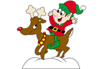 The elf on reindeer has a great animated look children will love