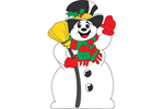 Classic Frosty the snowman is waving and has a broom and top hat