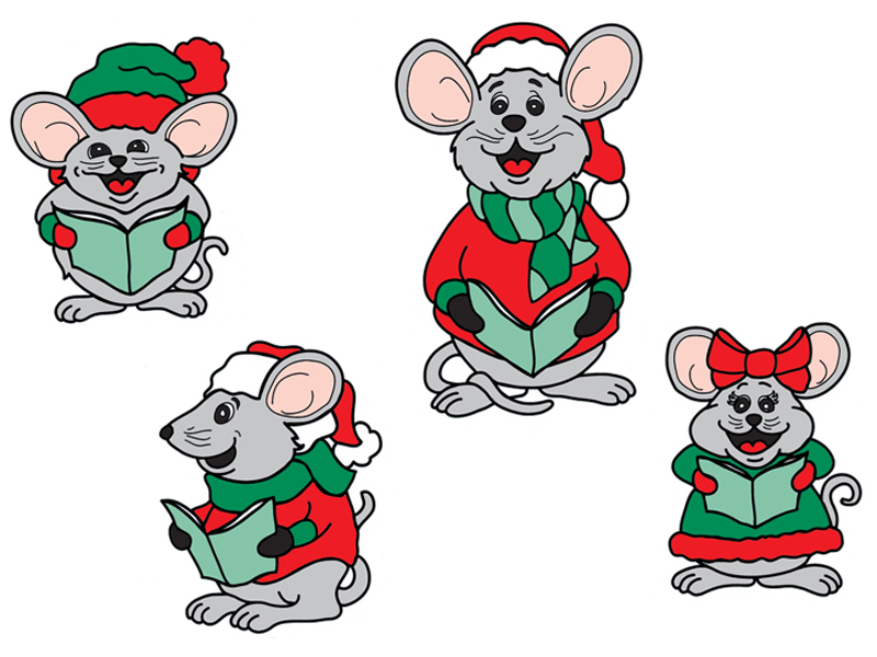 Four traditional caroling mice