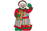 Mrs. Santa Claus has a homey feel with gingerbread cookie and mixing bowl