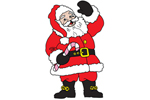 Mr. Santa Claus is waving welcoming guests and family into your home