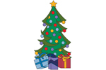 Christmas tree with presents is a festive outdoor lawn decoration